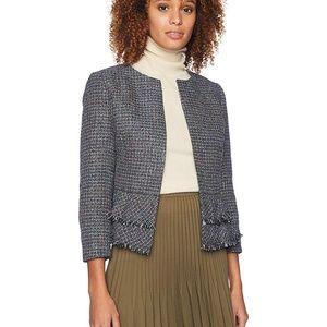 Nine West Jewel Neck  Tweed Ruffle Detail Blazer